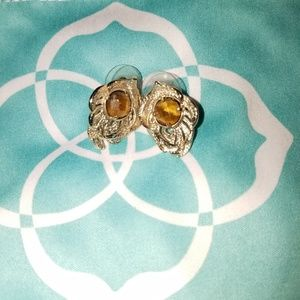 Kendra Scott gold and tiger eye feather studs